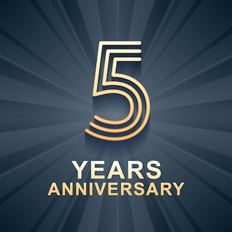 5 years anniversary celebration vector icon, logo. template design element with gold color age for 5th anniversary card