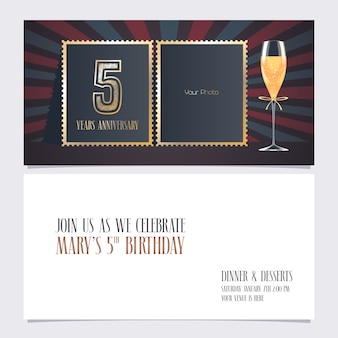 5 years anniversary invitation. template with collage of empty photo for 5th anniversary party  invite