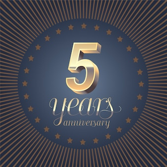 5 years anniversary lettering. 3d number for 5th anniversary.