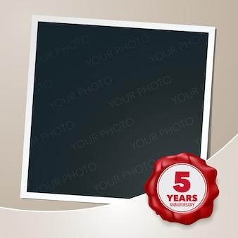5 years anniversary photo frame and wax seal