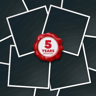 5 years anniversary vector icon, logo. design element, greeting card with collage of photo frames and red wax stamp for 5th anniversary