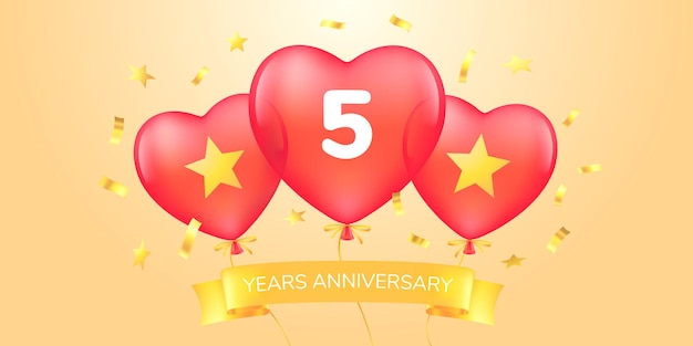 5 years anniversary vector logo icon template banner with hot air balloons for 5th anniversary greeting card