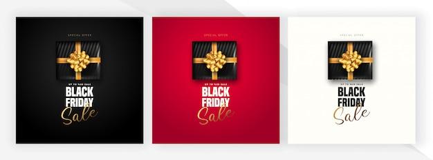 Скидка 50% на надпись «черная пятница», черная подарочная коробка на 3 разных цвета. может использоваться как плакат, баннер или шаблон.