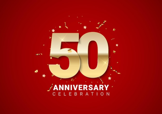 50 anniversary background with golden numbers, confetti, stars on bright red holiday background. vector illustration eps10