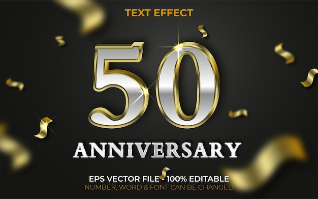 50 anniversary text effect gold style editable text effect