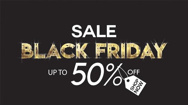 ブラックフライデーセールのバナーレイアウトのデザインの背景黒と金の50%割引提供brochu