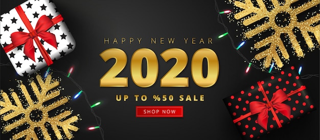 50% discount offer for 2020 happy new year sale lettering