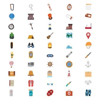 50 Flat Adventure Icons Set