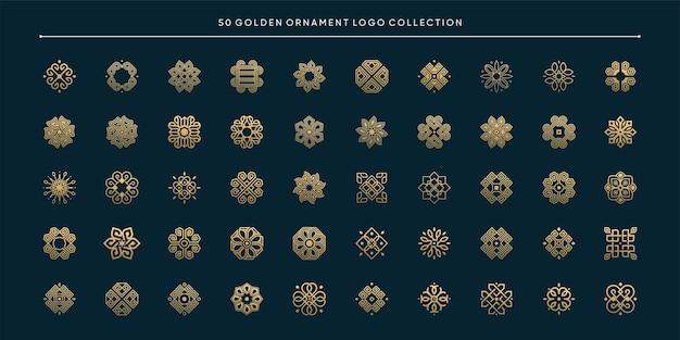 Коллекция логотипов 50 золотых орнаментов premium векторы