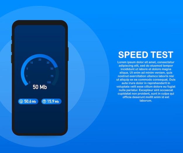 スマートフォンの速度テスト。スピードメーターインターネット速度50 mb。ウェブサイトの読み込み時間。 。