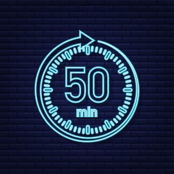 The 50 minutes stopwatch vector neon icon stopwatch icon in flat style