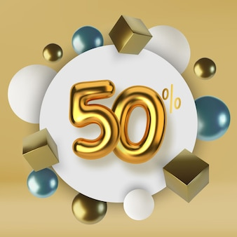 50 off discount promotion sale made of 3d gold text realistic spheres and cubes