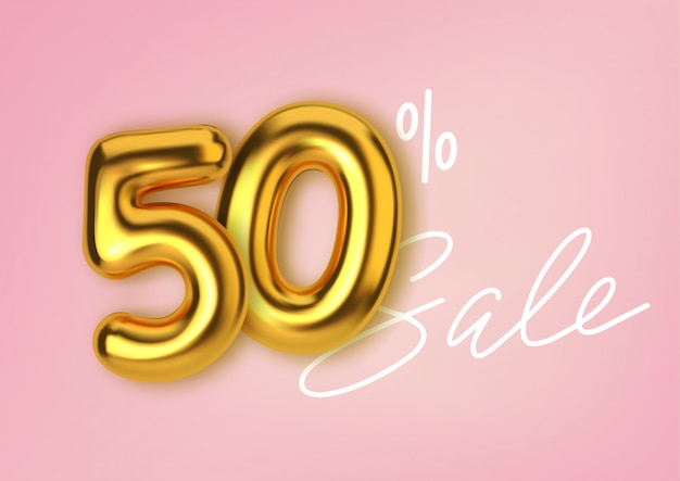 50% off discount promotion sale made of realistic 3d gold balloons. number in the form of golden balloons.