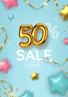 50 off discount promotion sale made of realistic 3d gold balloons with stars, sepantine and tinsel. number in the form of golden balloons.