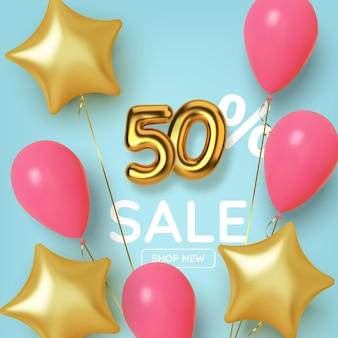 50 off discount promotion sale made of realistic 3d gold number with balloons and stars. number in the form of golden balloons.