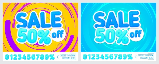 50 off sale banner on colorful background