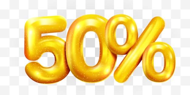 50% скидка на символ мега распродажи на золотом воздушном шаре