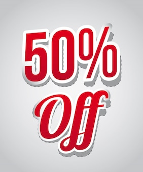 50 percent off over gray background vector illustration