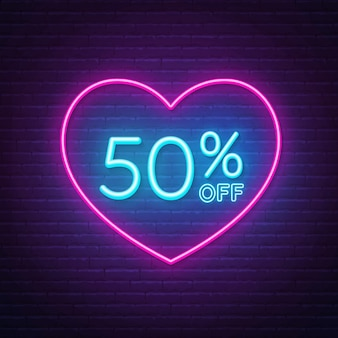 50 percent off neon sign in a heart shape frame background illustration