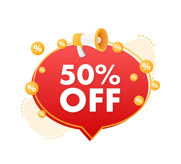 50 percent off sale discount banner with megaphone discount offer price tag
