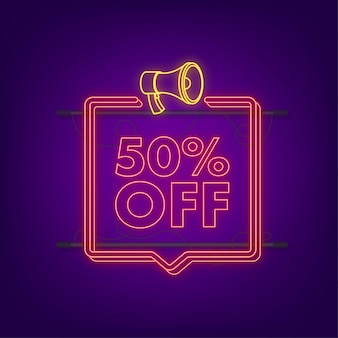 50 percent off sale discount neon banner with megaphone. discount offer price tag. 50 percent discount promotion flat icon with long shadow. vector illustration.