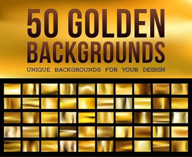 50のユニークなゴールドの背景キラキラ光るゴールドカラーの金色の光沢のある生地
