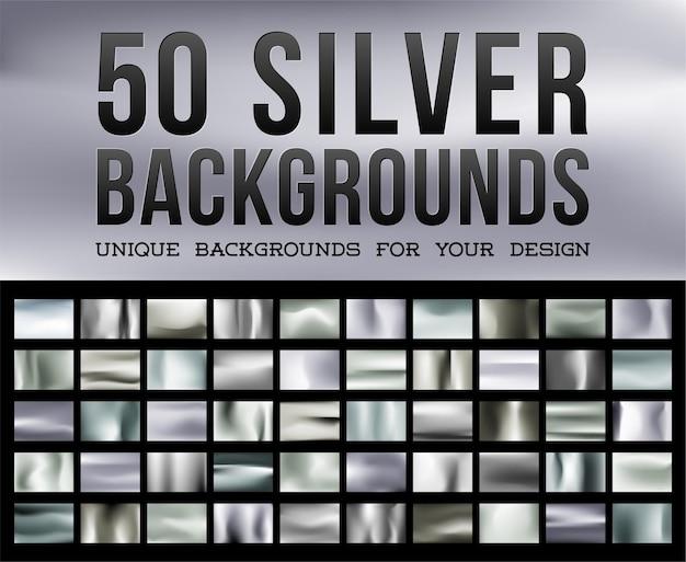 きらめくメタリックカラーの50のユニークなシルバーの背景シルバーの光沢のある生地