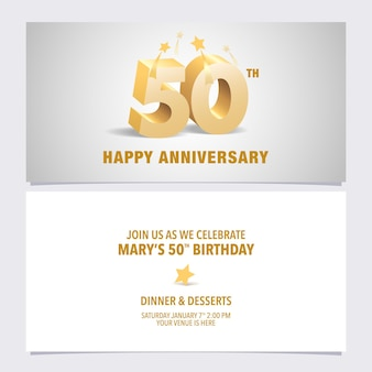 50 years anniversary invitation card. design template element with elegant 3d letters for 50th birthday