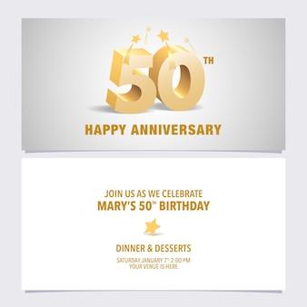 Пригласительный билет на юбилей 50 лет. элемент шаблона дизайна с элегантными 3d-буквами на 50-летие
