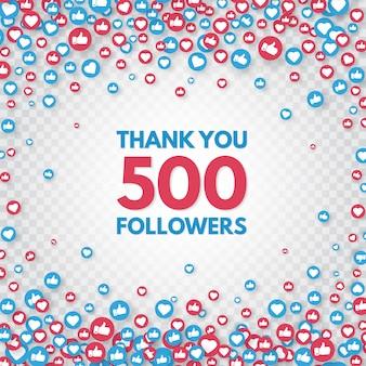 팔로워 500 명 감사합니다. 새로운 500 명의 가입자를 축하하십시오. 웹 블로깅 축하 카드. 소셜 미디어 개념. 좋아요와 엄지 손가락 아이콘. 공적 포스터. 삽화