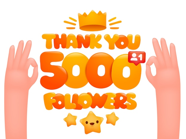 5000 followers cartoon illustration with expressing gesticulating hands