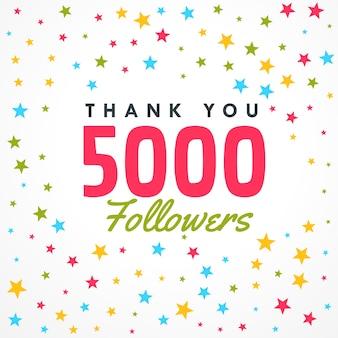 Шаблон успеха 5000 последователей с красочными звездами