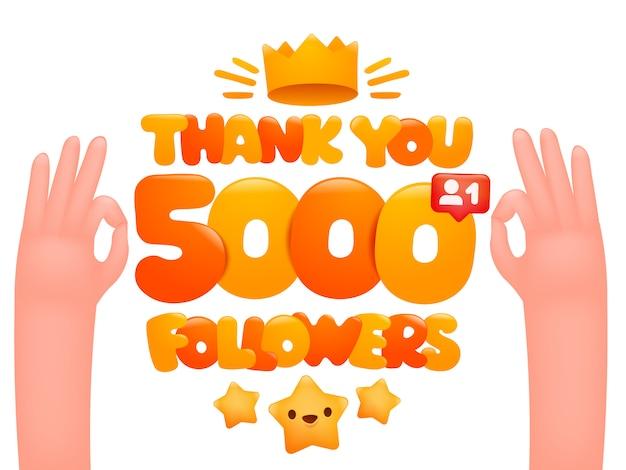 5000 последователей карикатуры с выражением жестикулирующих рук