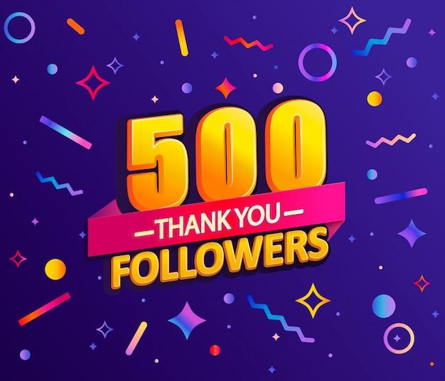 500人のフォロワー、ありがとうバナーに感謝します。
