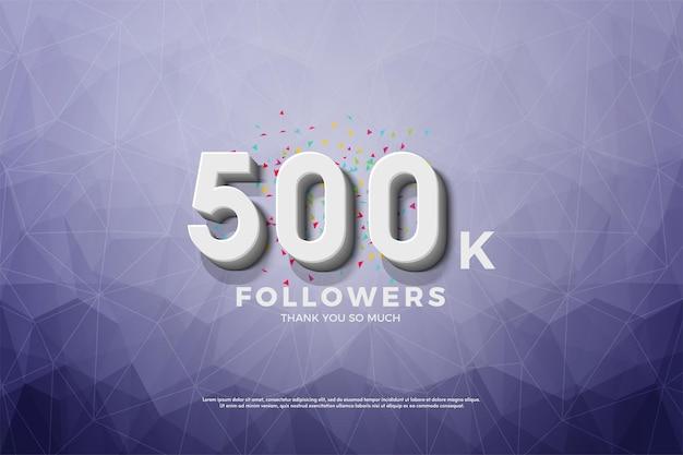 Фон 500k последователей с тиснеными 3d числами