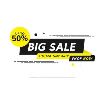 Черно-желтая супер распродажа до 50% баннер шаблон этикетки покупки с плоским стилем