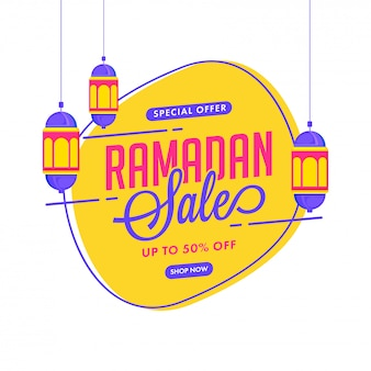 ハンギングランタンで飾られたラマダンセールポスターデザインが最大50%オフ。