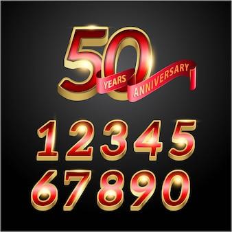 50 лет красный золотой юбилей логотип с красной лентой света.