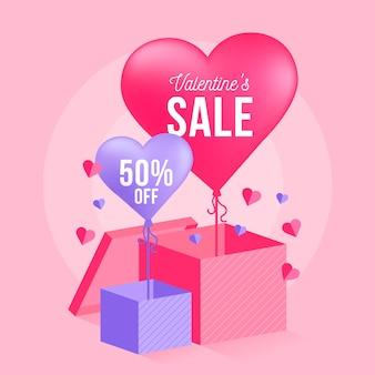 50%提供のフラットデザインバレンタインデーセール