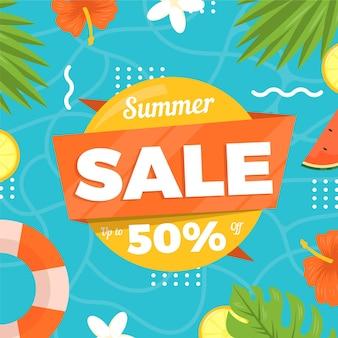 Летняя распродажа плоского дизайна 50%