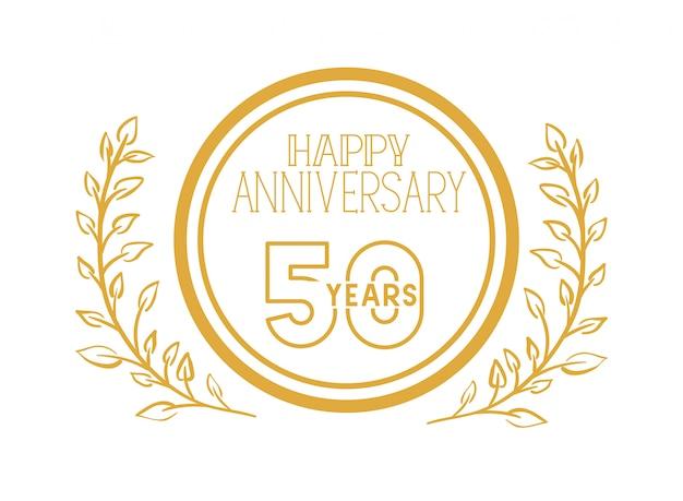 記念日のお祝いの紋章または記章の番号50