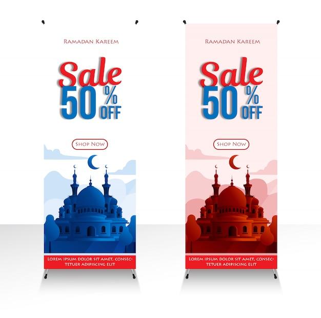 Баннер магазин рамадан карим распродажа 50% специальная акция в месяц рамадан и мечеть иллюстрация