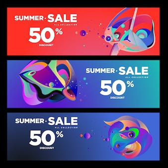 Вектор летняя распродажа 50% скидка жидкости красочный баннер