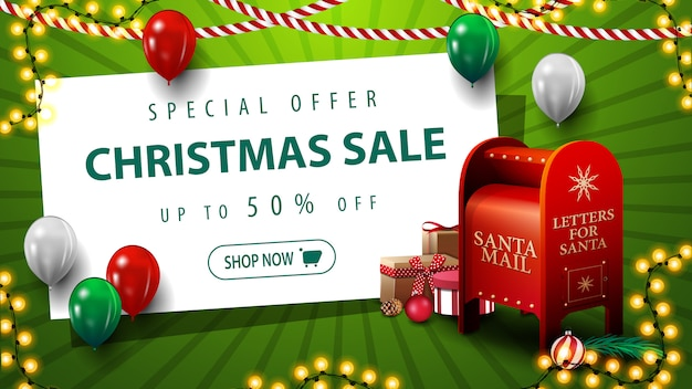 Специальное предложение новогодняя распродажа до 50% скидка на зеленый баннер со скидкой с воздушными шарами