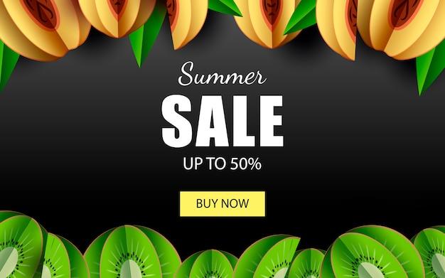 ショップ今ボタンとトロピカルフルーツ50%バナーテンプレートまでの夏のセール。