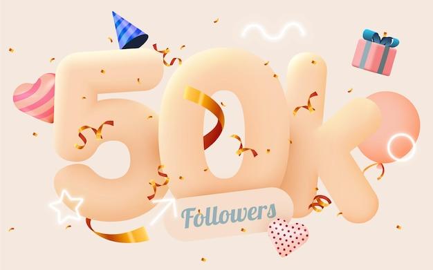 50 тысяч или 50000 подписчиков спасибо розовое сердце, золотые конфетти и неоновые вывески.