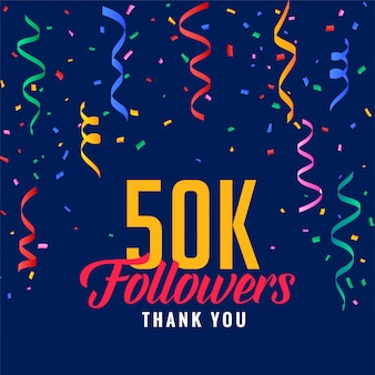 50k post di celebrazione di follower sui social media con coriandoli che cadono