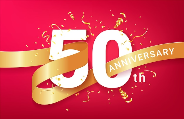 50th anniversary celebration banner template. big numbers with sparkles golden confetti and glitters ribbon.