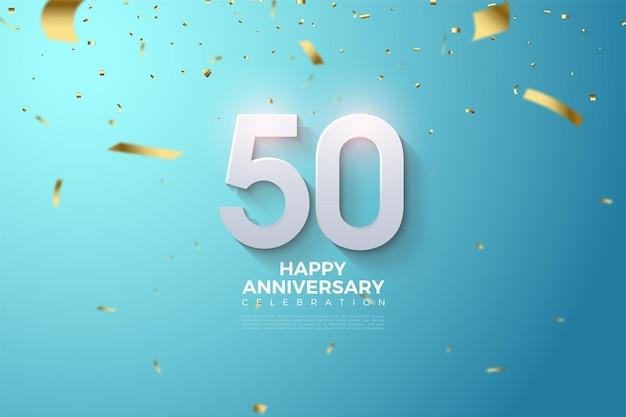 엠보싱 및 음영 처리 된 3d 숫자가있는 50 주년