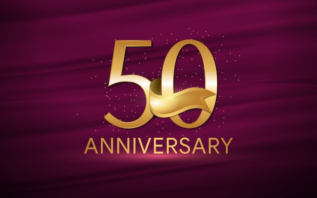 50th anniversary with illustrations 3d figures gold wallpaper / background